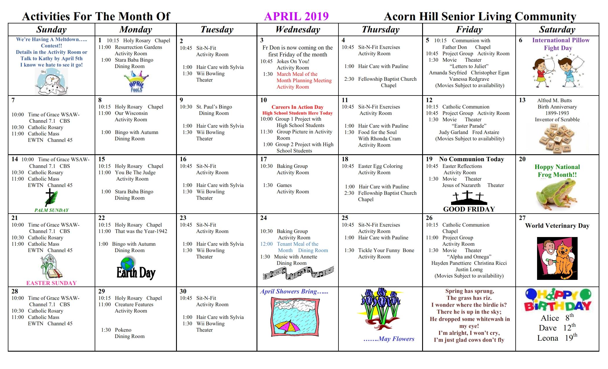 March-2019-Activities-Calendar